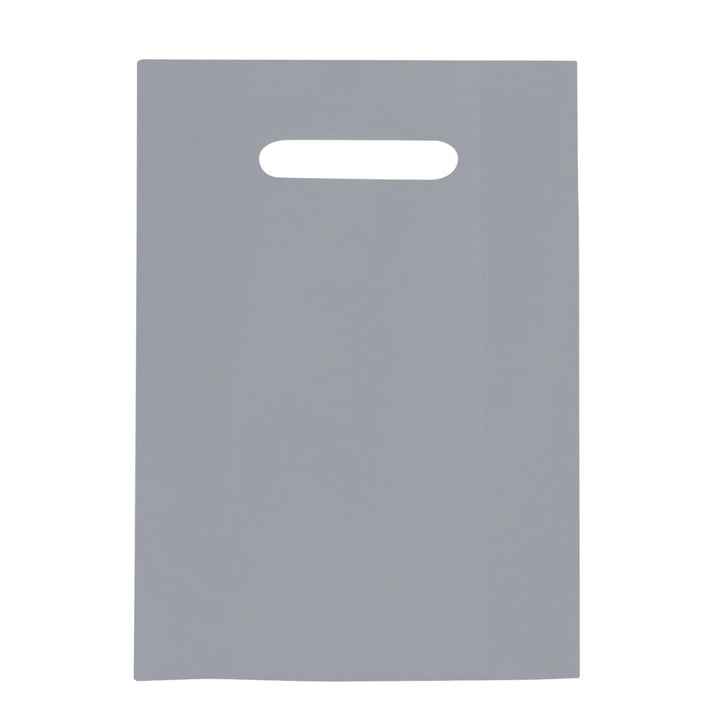 Sac plastique à poignées découpées gris 25x38cm - paquet de 100