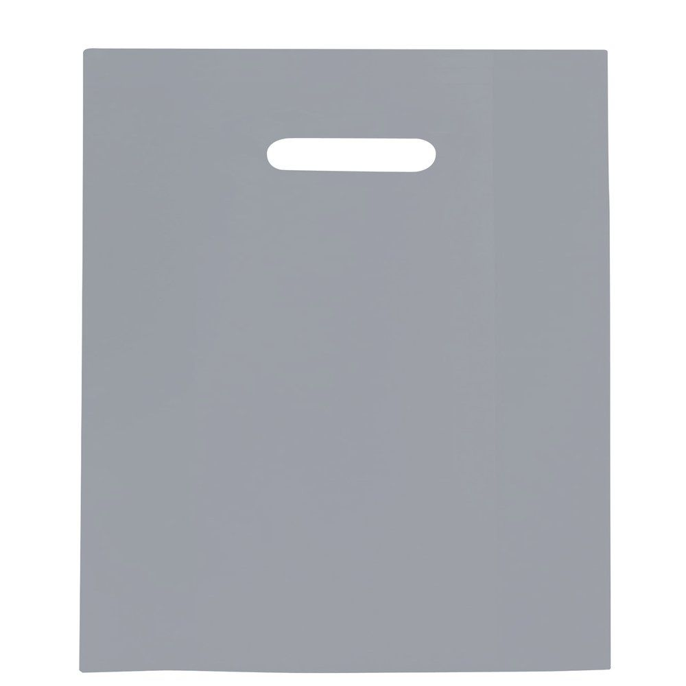 Sac plastique à poignées découpées gris 35x45+4cm - paquet de 100