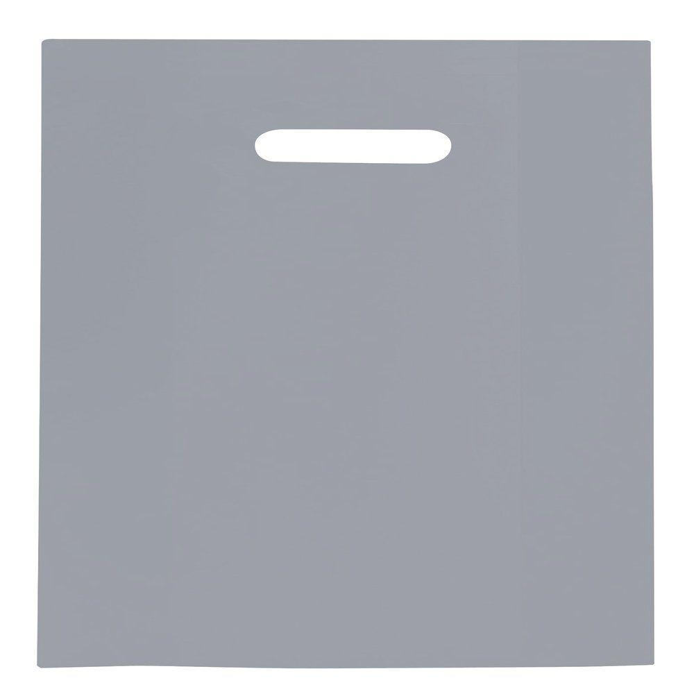 Sac plastique à poignées découpées gris 45x50+4cm - paquet de 100