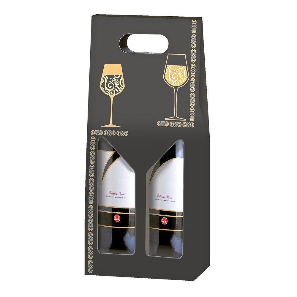 Boîte 2 bouteilles 'Elegance' 18x9x40cm - paquet de 10 (photo)