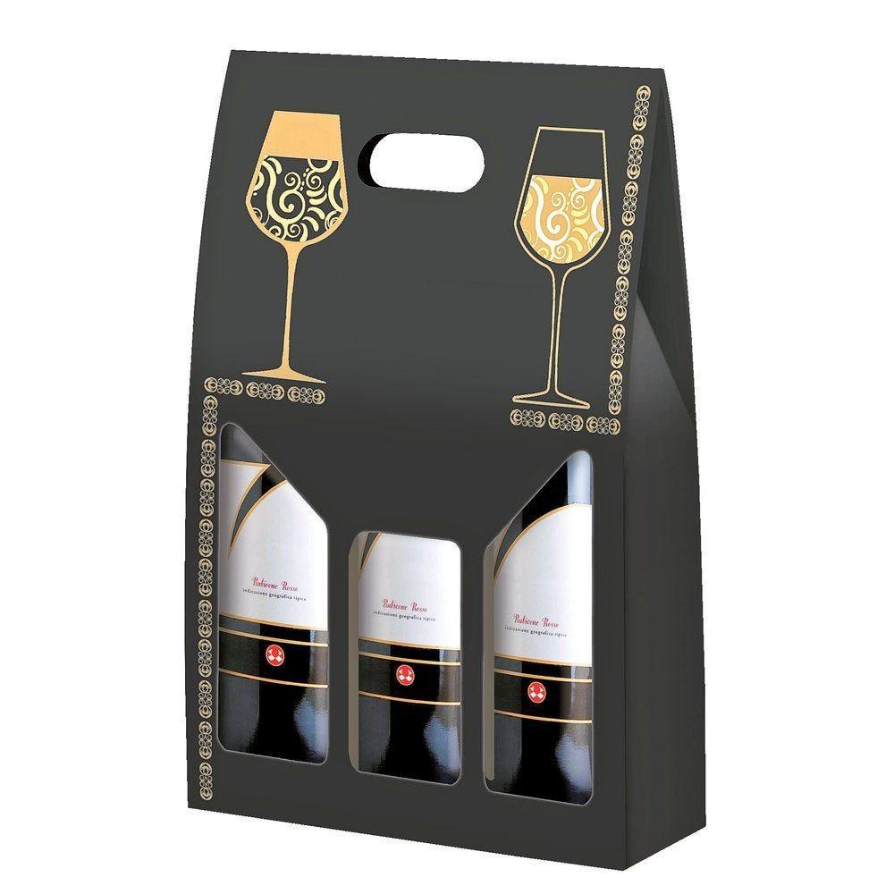 Boîte 3 bouteilles 'Elegance' 27x9x40cm - paquet de 10 (photo)