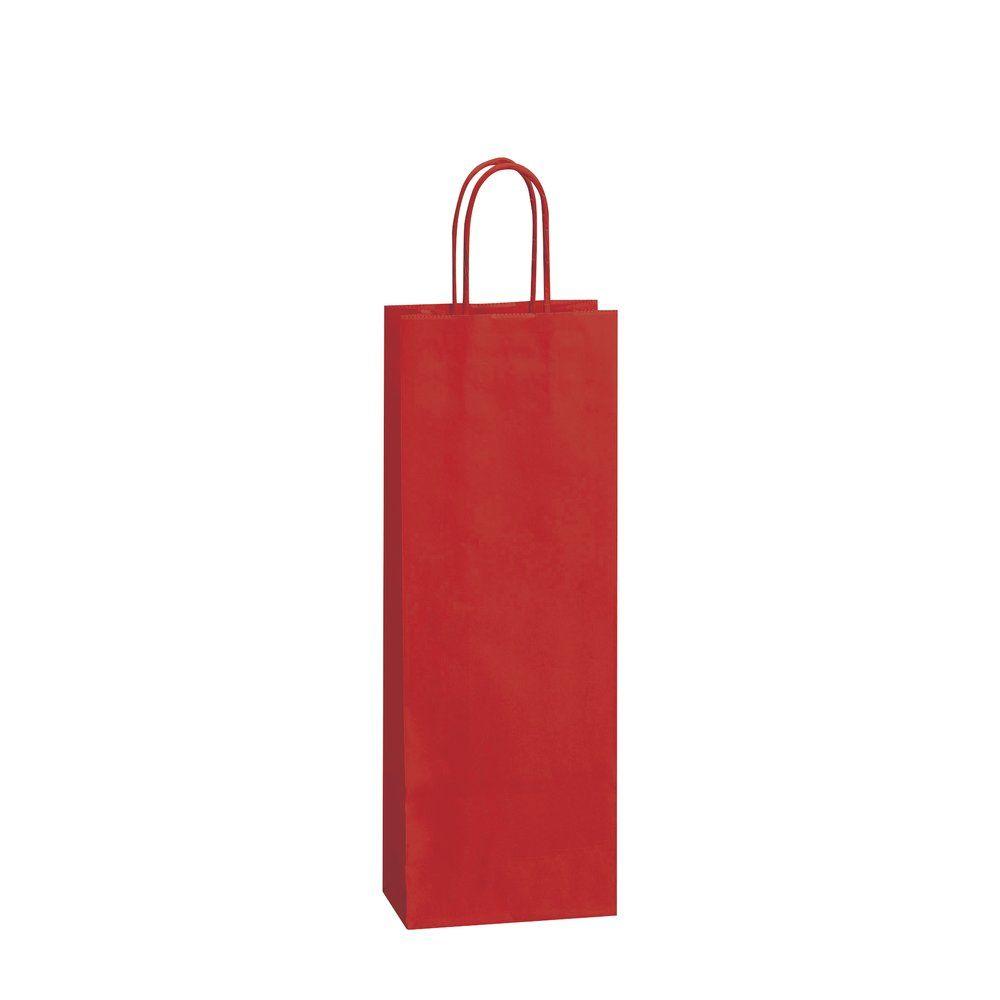 Sac papier 1 bouteille rouge poignées torsadées L.14 + 8,5 x 39CM par 50 (photo)