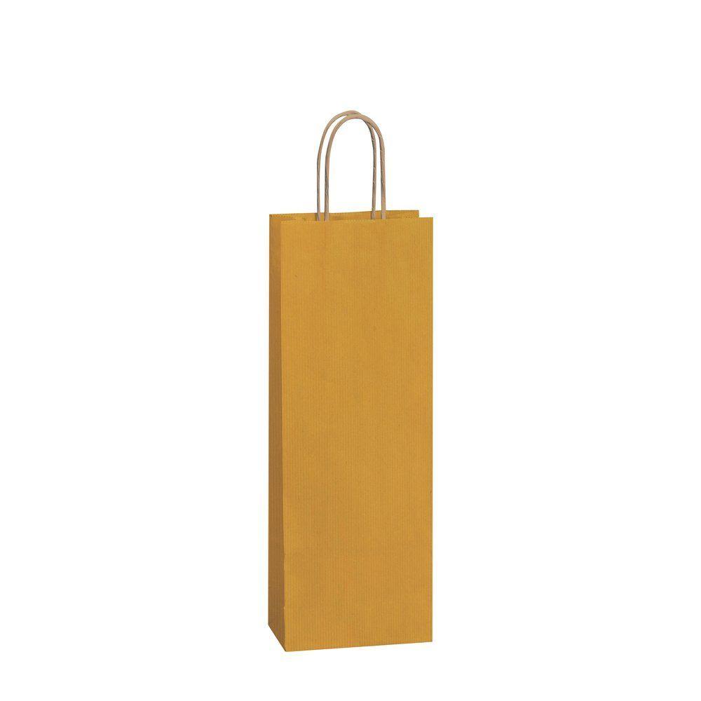 Sac papier 1 bouteille or poignées torsadées 14+8,5x39cm - par 50 (photo)
