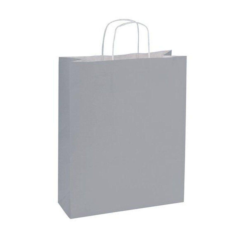 Sac papier gris poignées torsadées L.14 + 8,5 x 21CM par 200 (photo)