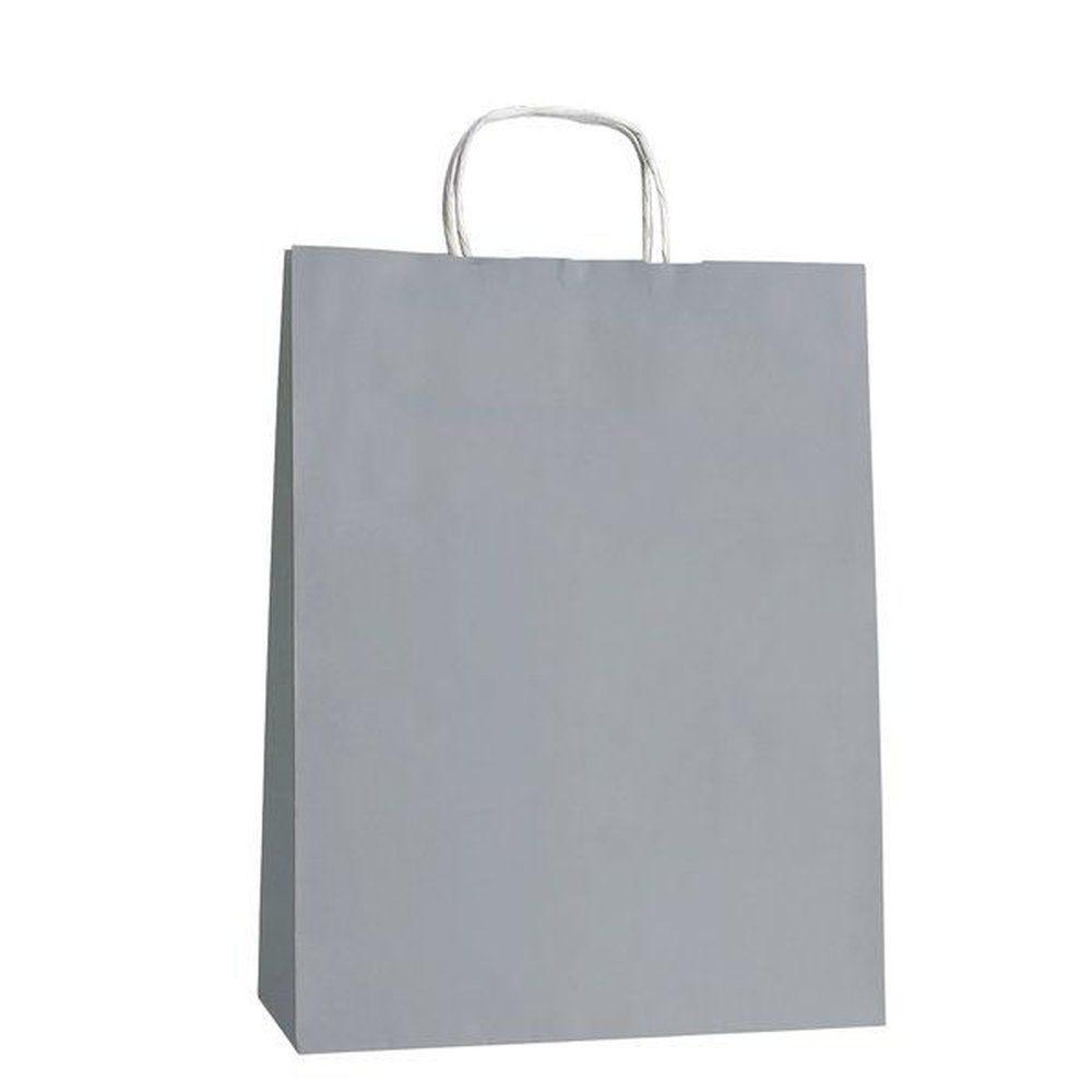 Sac papier gris poignées torsadées L.22 + 10 x 29CM par 200 (photo)