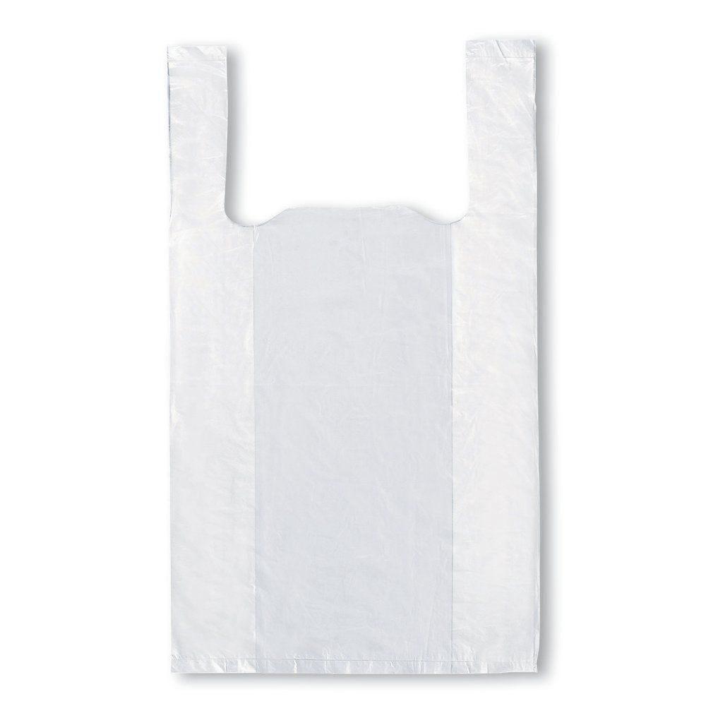 Sac bretelles réutilisables blancs 26+12x45cm PEBD 50µ - par 500 (photo)