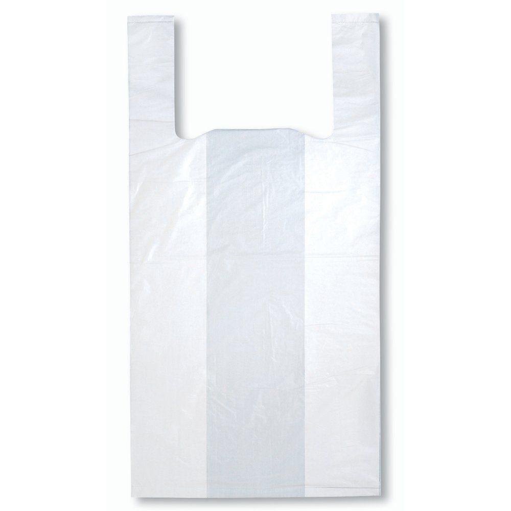 Sac bretelles réutilisables blancs 32+18x60cm PEBD 50µ - par 500 (photo)