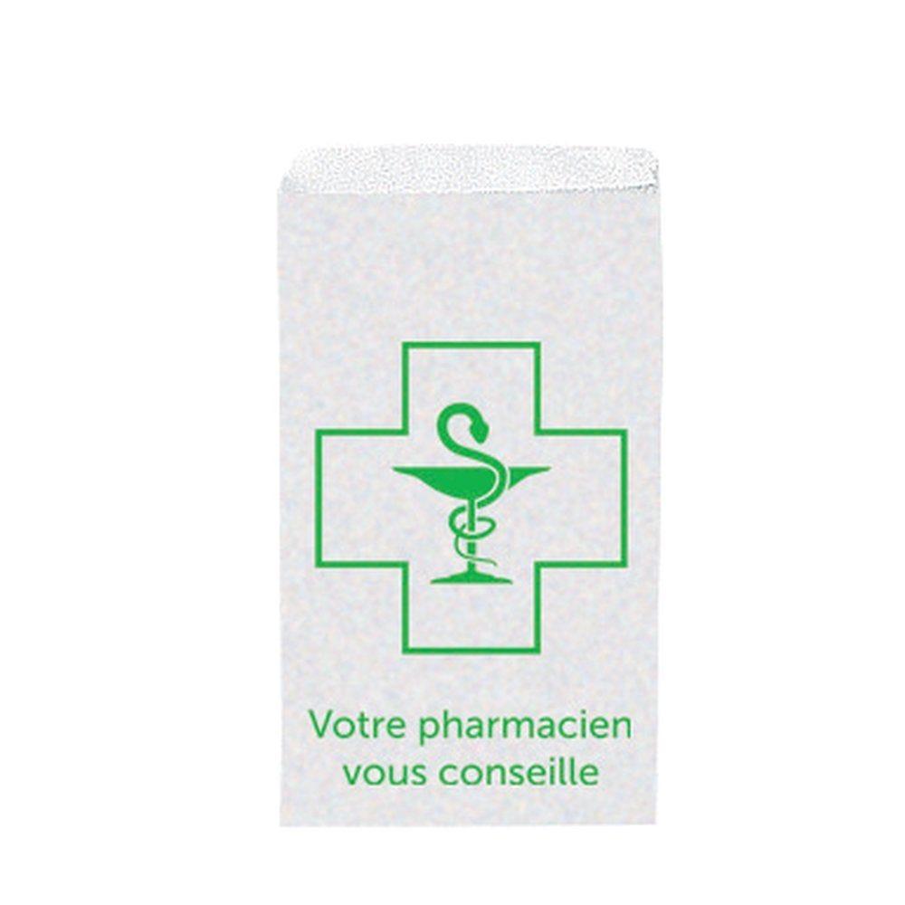 Pochette Kraft blanchi imprimé pour pharmacies 12x23+5cm - par 500