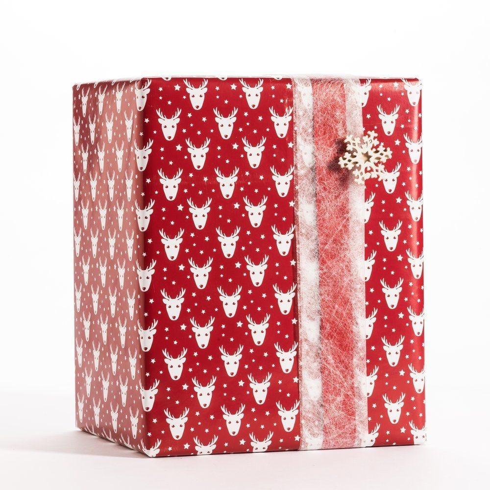 Papier cadeau fond rouge décor cerf blanc 0,70x50m