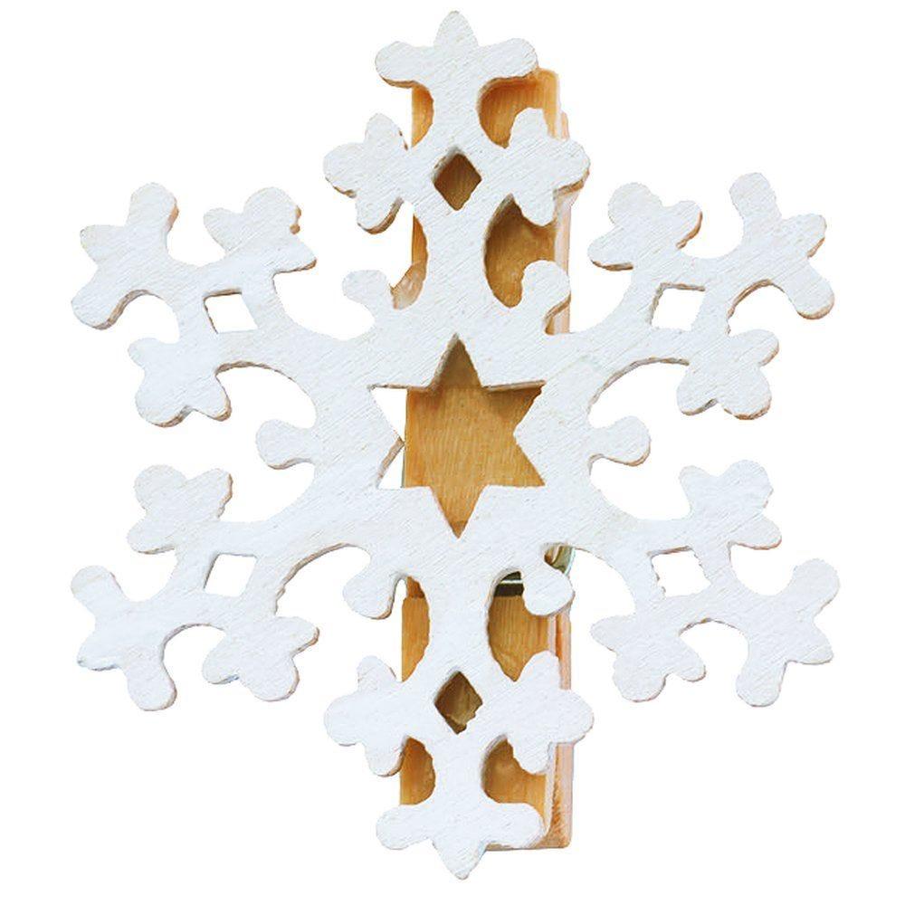 Flocon en bois blanc sur clip 3.5cm - par 6 (photo)
