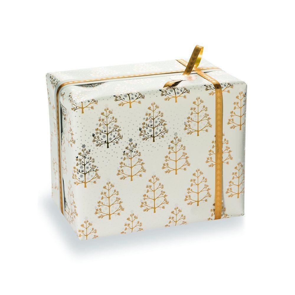 Papier cadeau sapins or sur fond blanc métal 0,70x50M