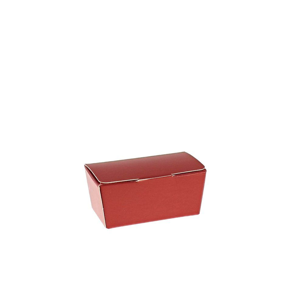 Mini ballotin rouge intérieur or 40g  7,6x3,6x3,4cm - par 50 (photo)