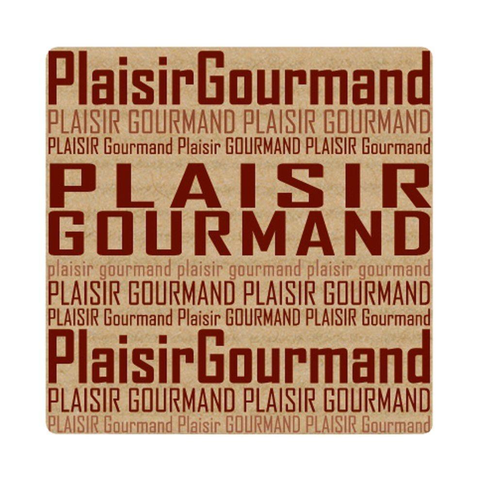 Etiquette 'Plaisir Gourmand' 34x34mm - par 500 (photo)