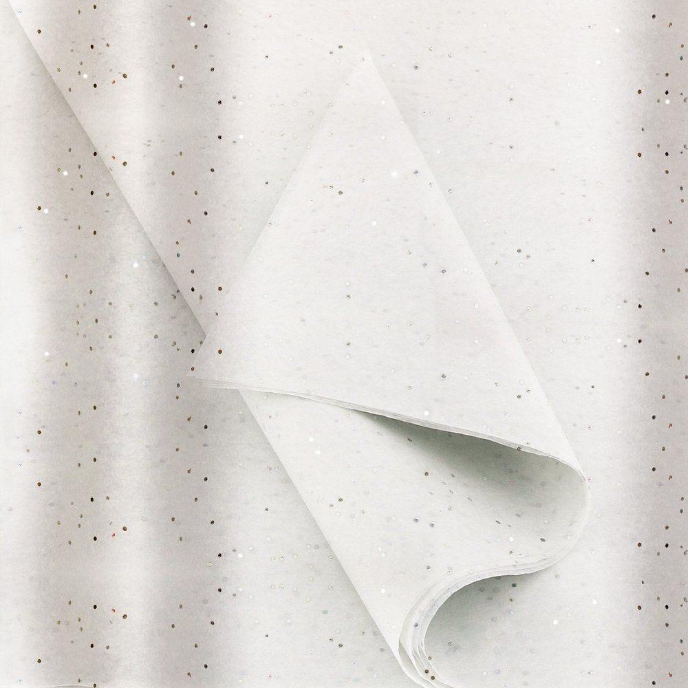 Papier de soie blanc avec paillettes 50x75cm pliées - par rame de 96 feuilles (photo)