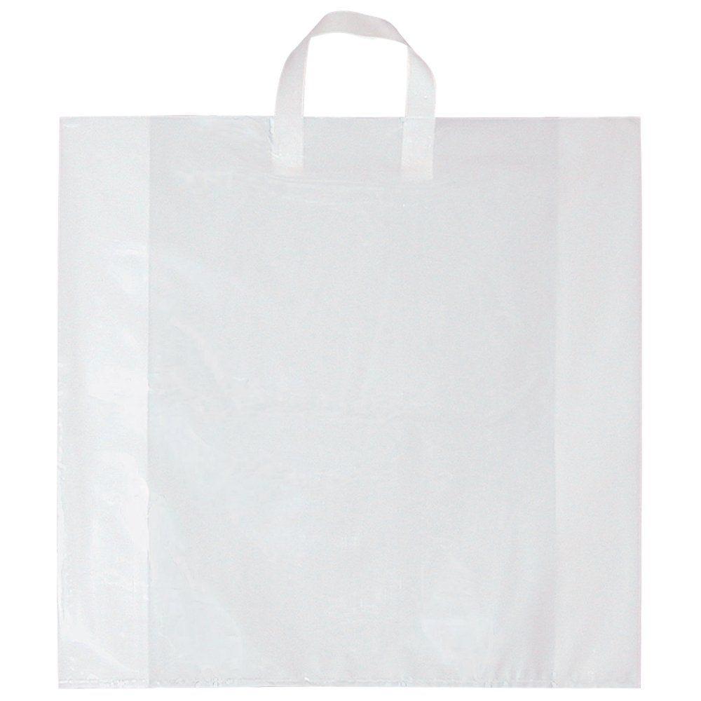Sac poignée souple blanc 80µ 57+7x57cm - x100 (photo)