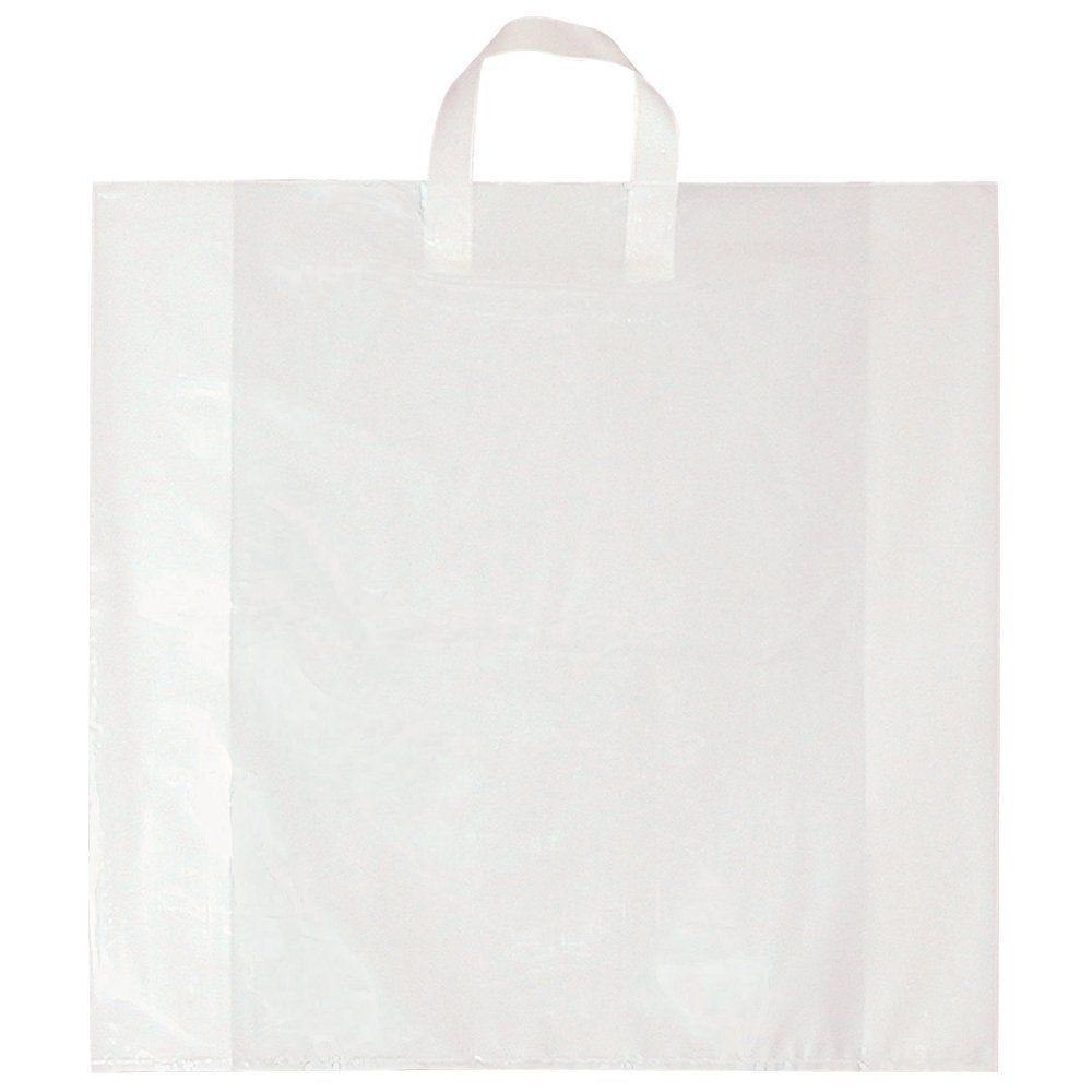 Sac poignée souples blanc 70µ 45+5x45cm x100 (photo)