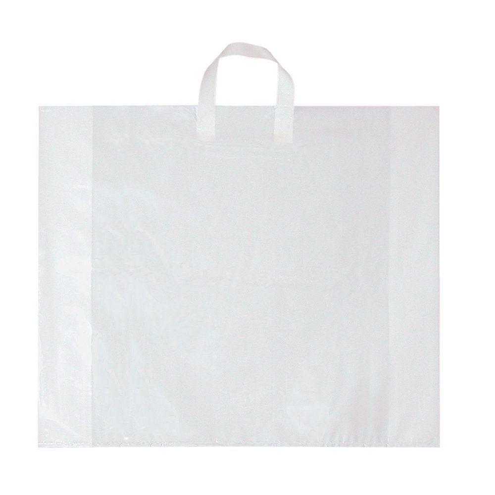 Sac poignée souple blanc 70 µ 50+5x40cm - x 100 (photo)