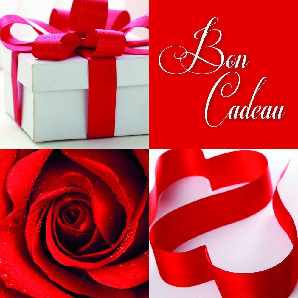 Bon cadeau décor rose rouge, paquet cadeau et ruban 12x12cm - par 12