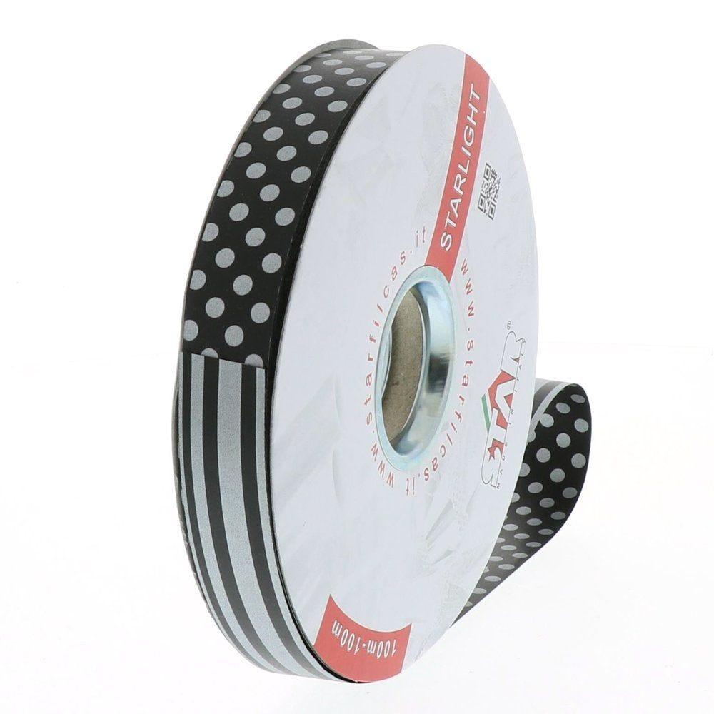 Bolduc 'Dots & Stripes' réversible noir et argent en 19mm x 100m (photo)