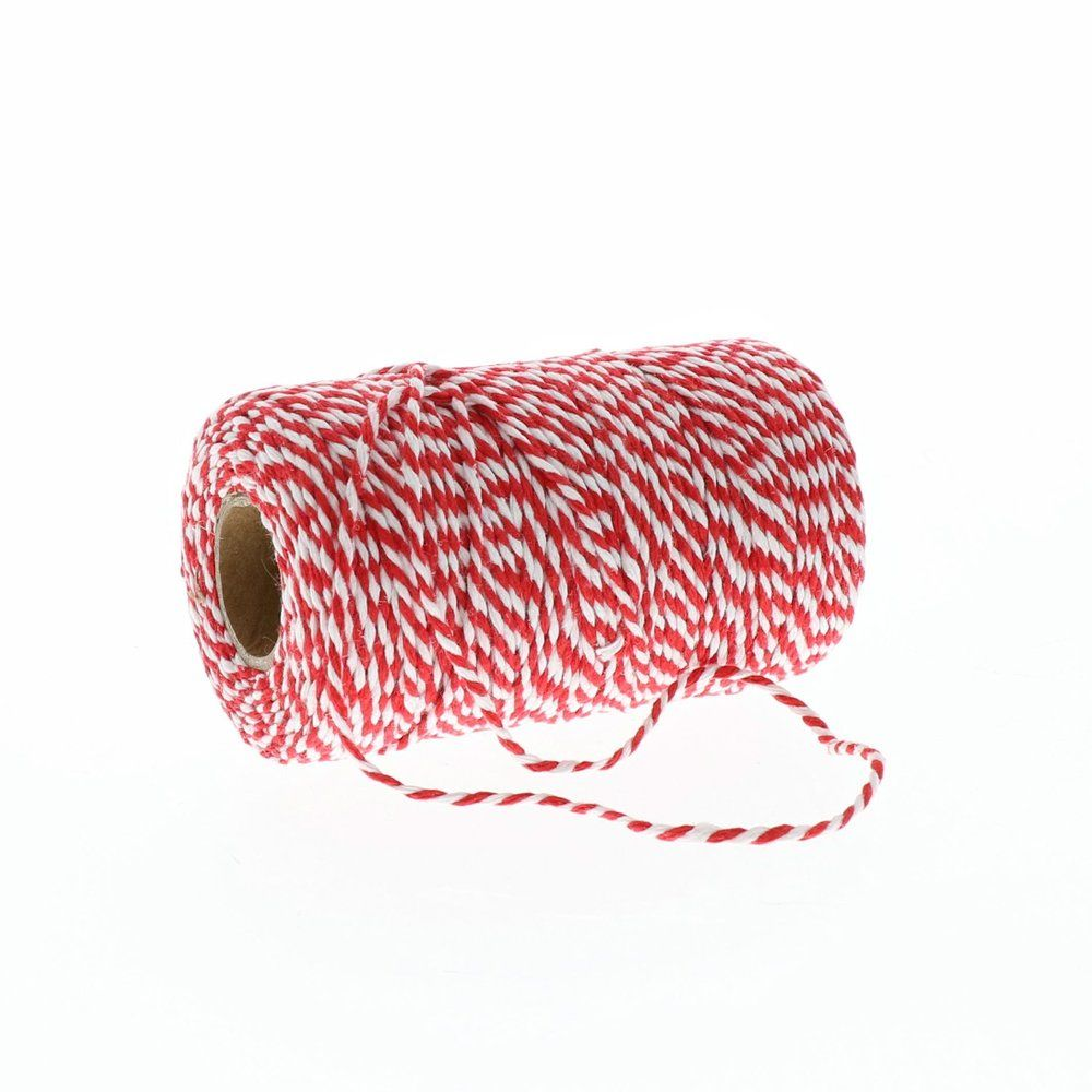 Ficelle bicolore rouge et blanc en 2mm x100m