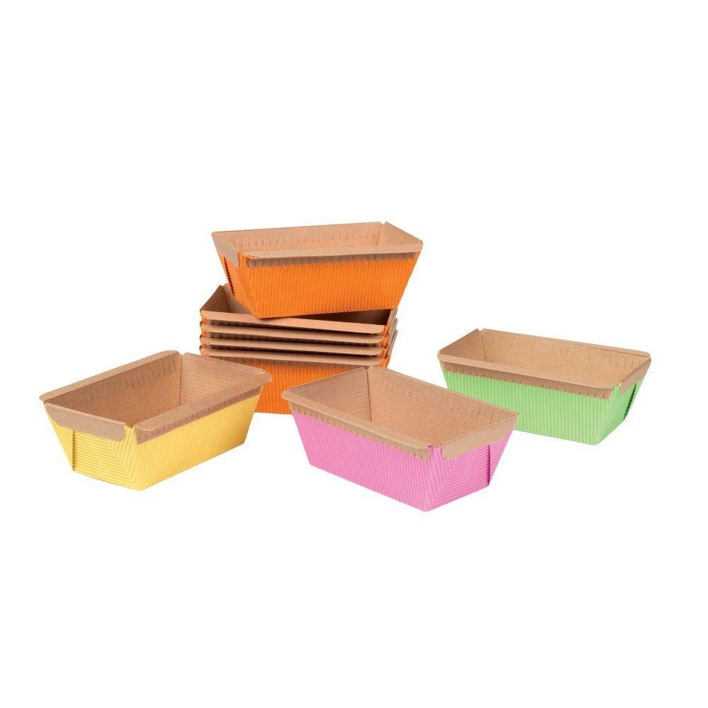 Moule à cake 4 coloris assortis 9.5 x 5.3 x 4.7cm par 48 (photo)