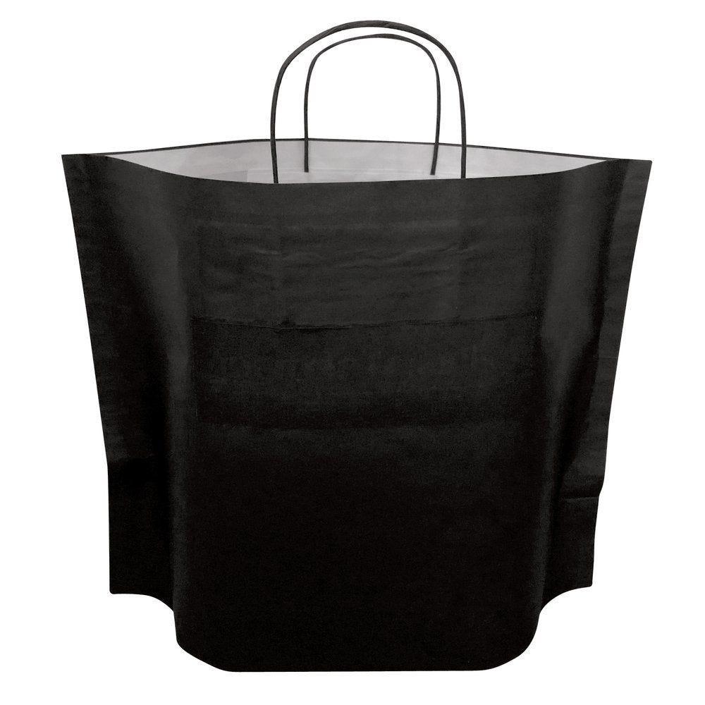 Sac kraft noir avec soufllet de fond poignées torsadées L 46 x P 12 x H 34cm x50 (photo)