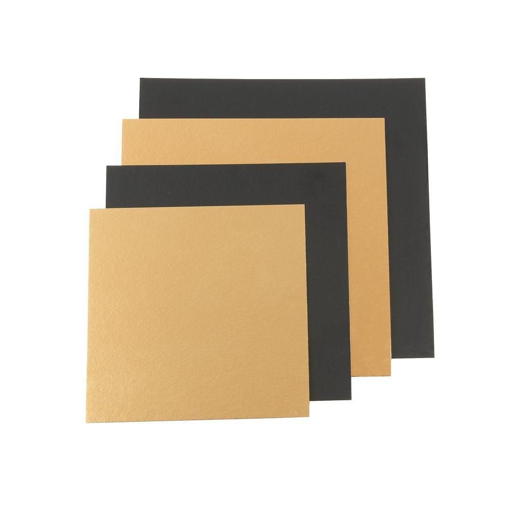 Carré pâtissier carton or et noir 18x18 cm par 50 (photo)
