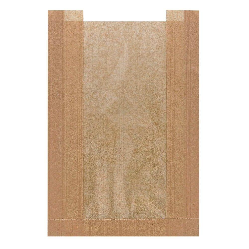 Sac à pain avec fenêtre kraft brun 230+50x340 mm par 1000 (photo)