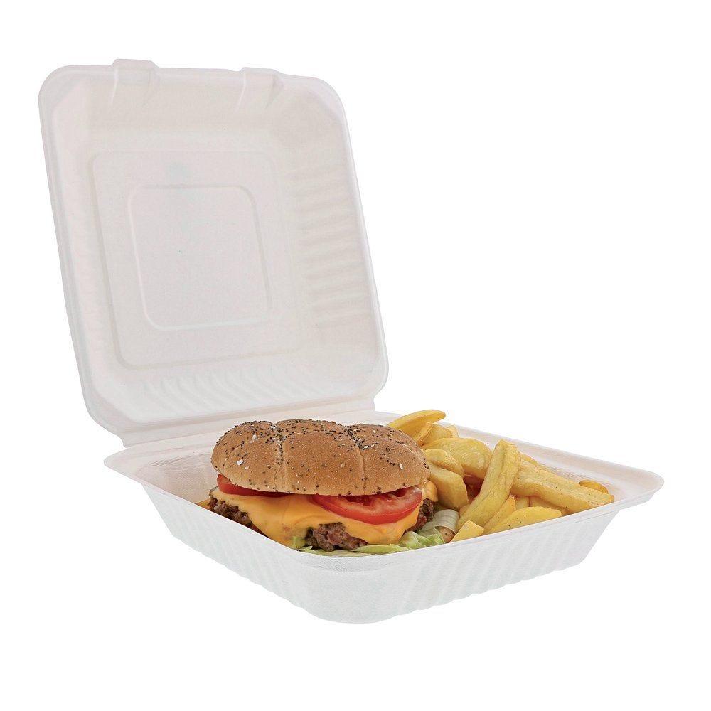 Boîte lunchbox biodégradable 22.9x22.9x4.48 cm par 50 (photo)