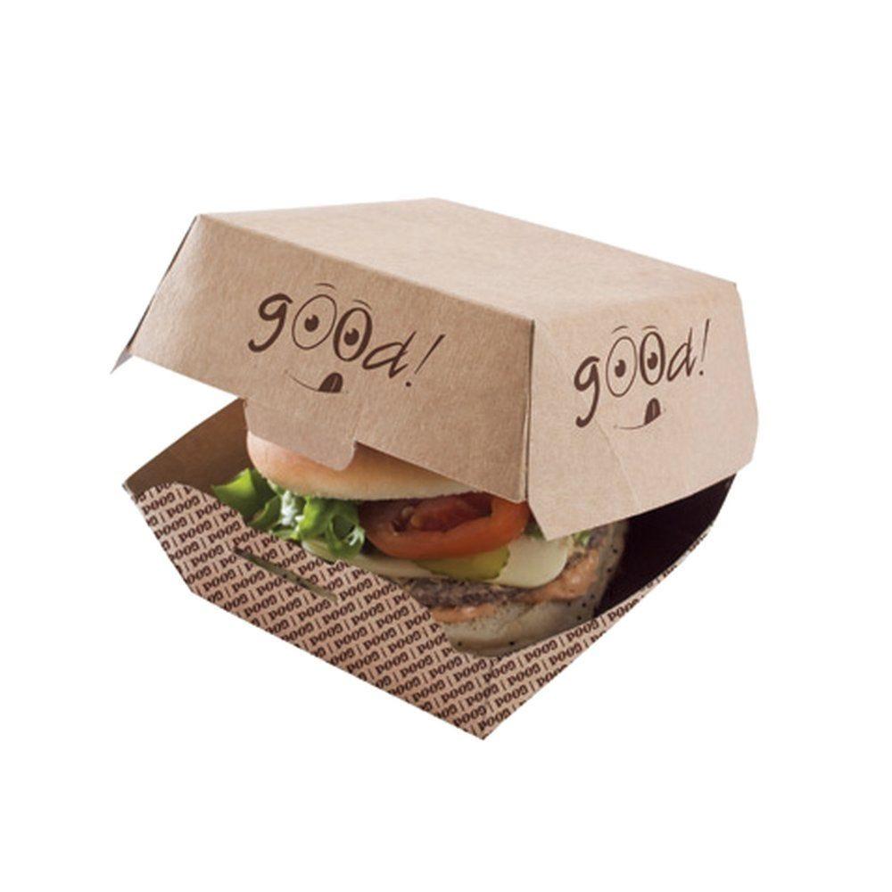 Boîtes burger carton imprimé GOOD 11.5x11.5x7cm - par 100 (photo)