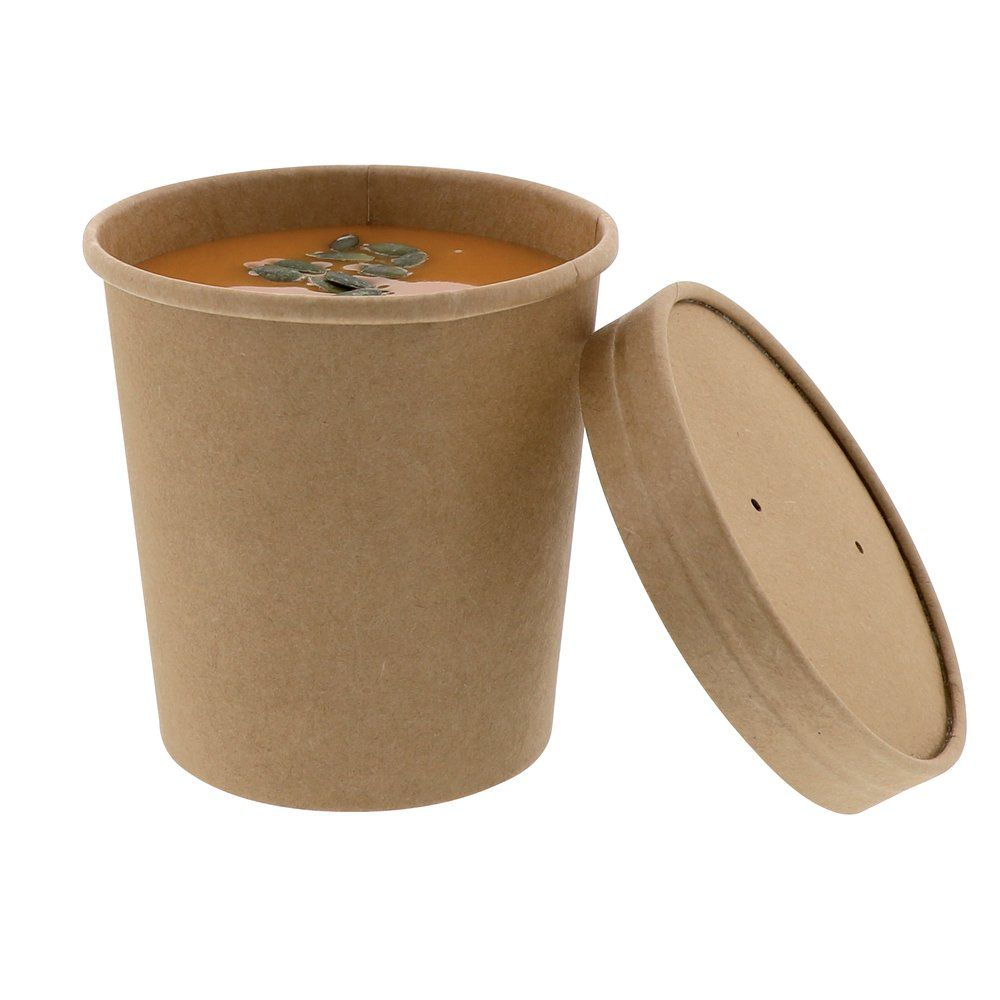 Gobelet carton brun chaud et froid avec couvercle carton 470ml - par 25