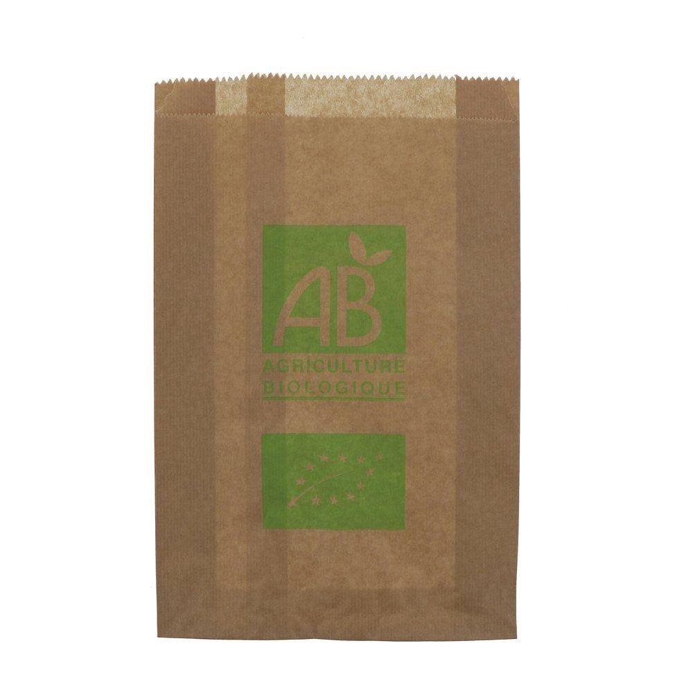 Sachet kraft brun uni imprimé AB 3kg L23 x P8 x H34cm par 1000 (photo)