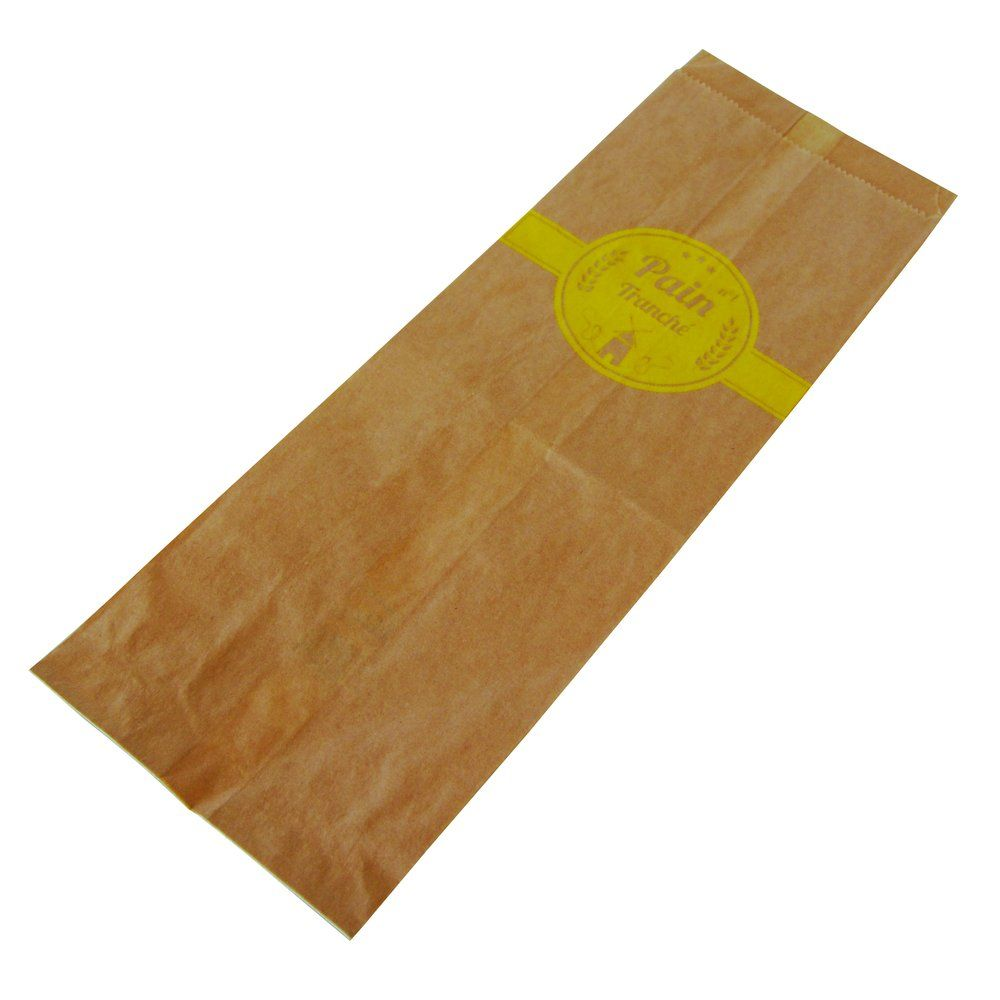 Sac pain tranché n°1 kraft brun décor jaune L12x P10xH34cm par 1000 (photo)