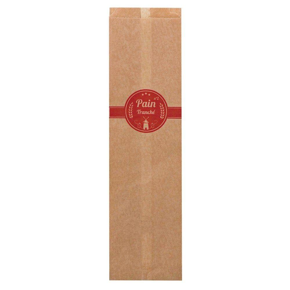 Sac pain tranché n°6 kraft brun décor rouge L16 x P10 x H58 cm par 1000 (photo)