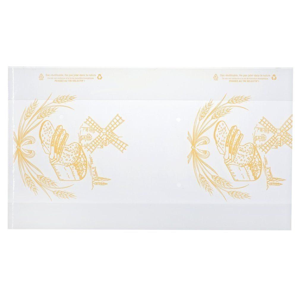 Sacs à pains tranches transparent / beige 50 µ 23x4+4x40 cm  - par 200 (photo)