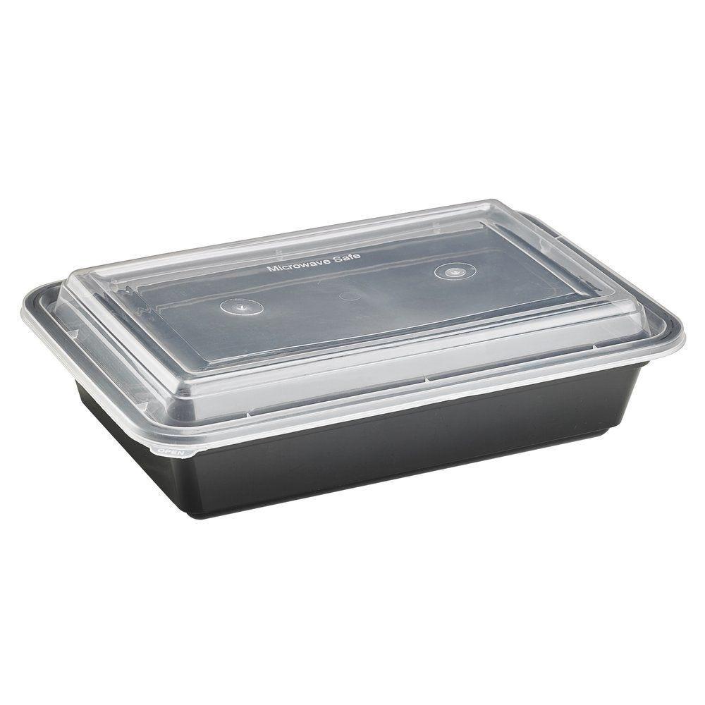 Barquette micro-ondable PP à couvercle 750 ml rectangle - paquet de 50 (photo)