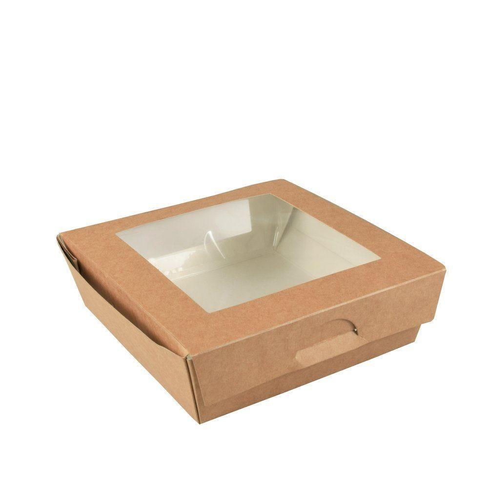 Boîte alimentaire couvercle attenant double fenêtre PLA 1000 ml par 25 (photo)