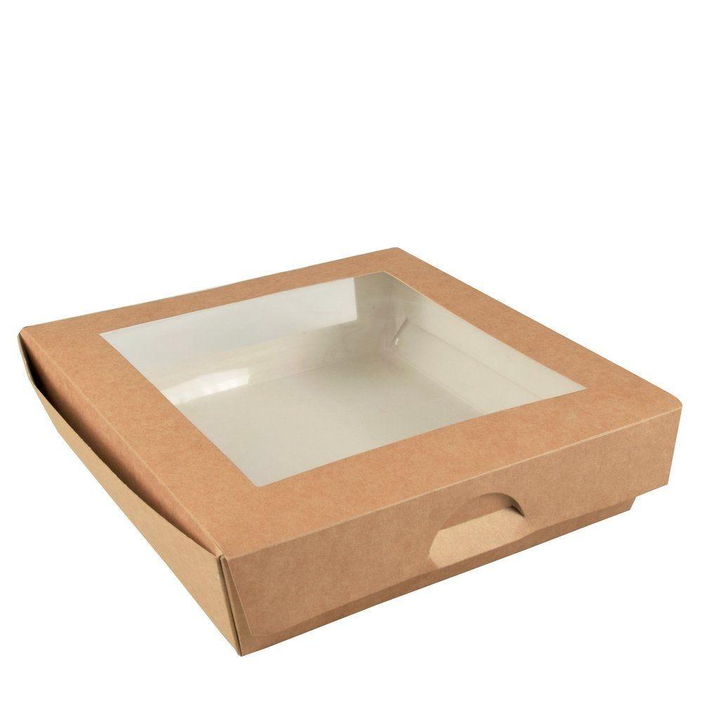 Boîte alimentaire couvercle attenant double fenêtre PLA 1500 ml par 25 (photo)