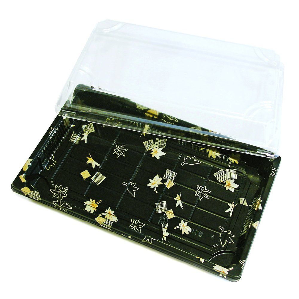 Boîte à sushis avec couvercle décor doré L.21,5x P.13,5 x H.4 cm par 50 (photo)