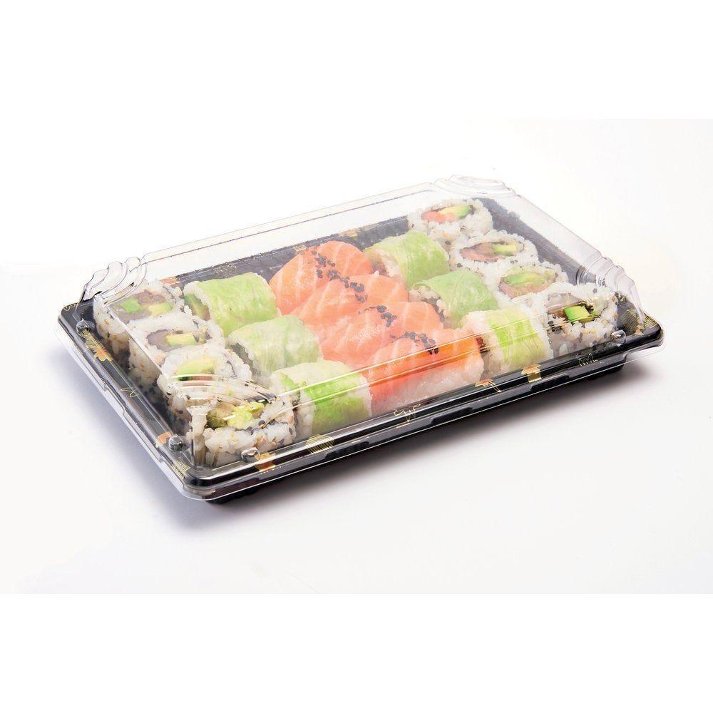 Boîte à sushis avec couvercle décor doré H.24 x P.14,7 x H.4,6 cm par 50 (photo)