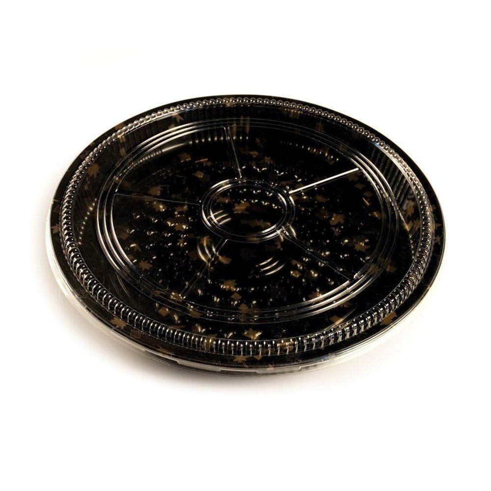 Boîte alimentaire ronde avec couvercle décor doré Ø 33 X 6,4 cm par 30 (photo)