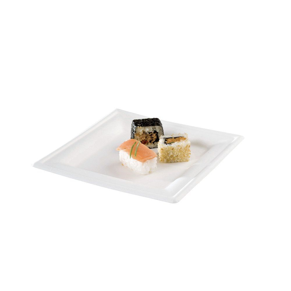Assiette carrée bagasse 20cm - par 50 (photo)