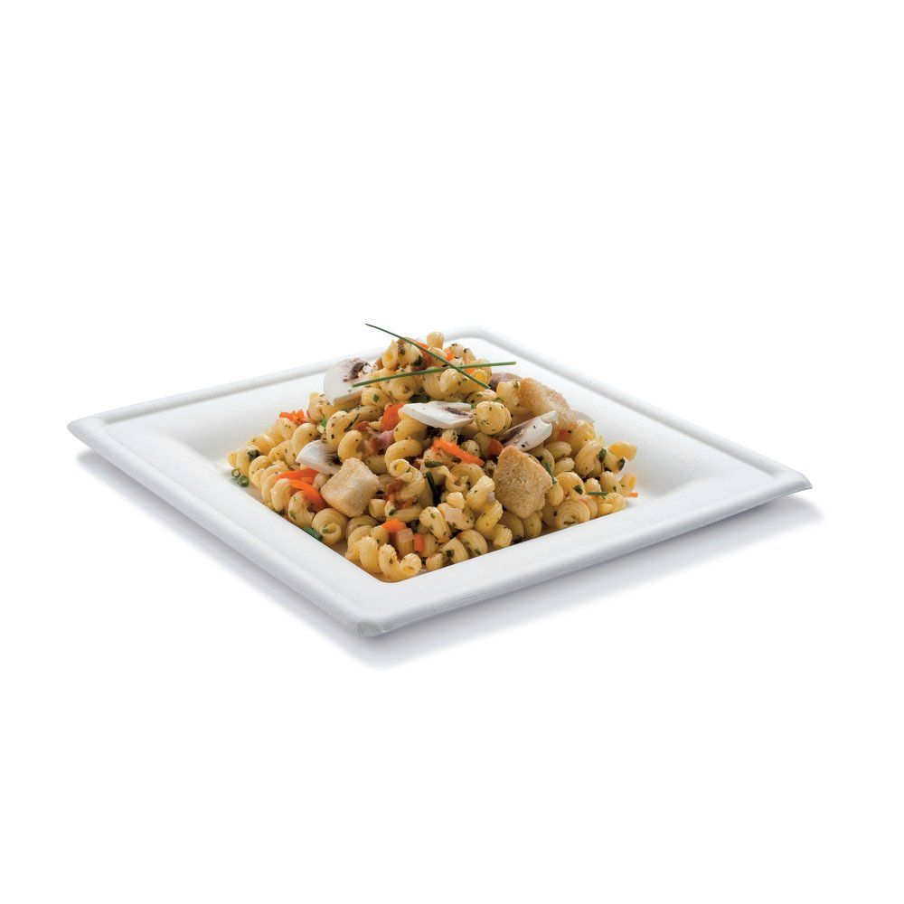 Assiette carrée bagasse 26cm - par 50 (photo)