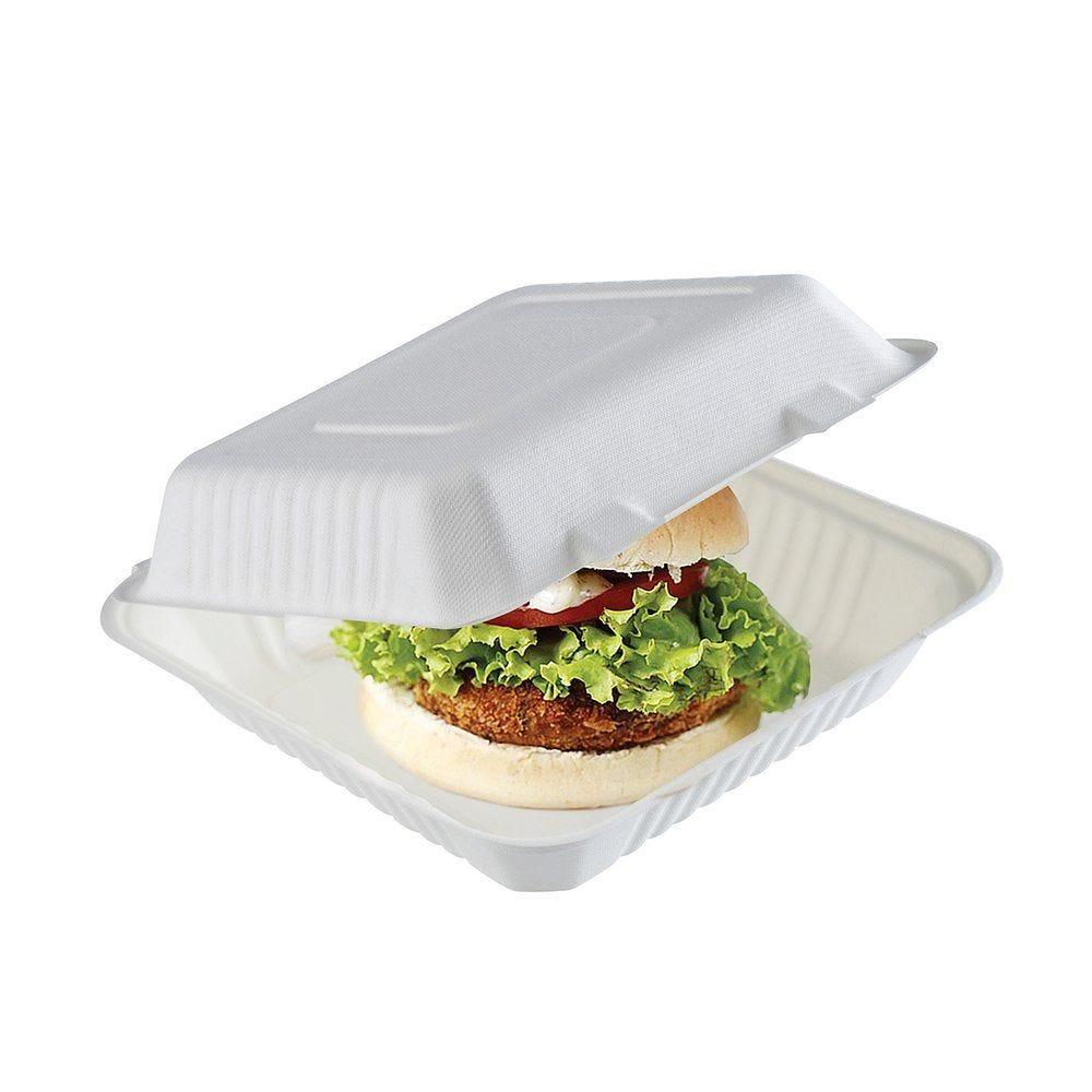 Boîte burger bagasse grand format 15x15x4.5 cm par 50 (photo)