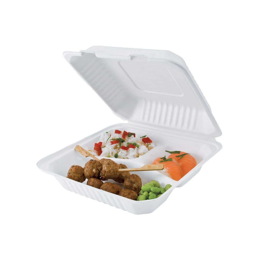 Lunch box 3 compartiments bagasse 22.9x22.9x4.48 cm par 50 (photo)