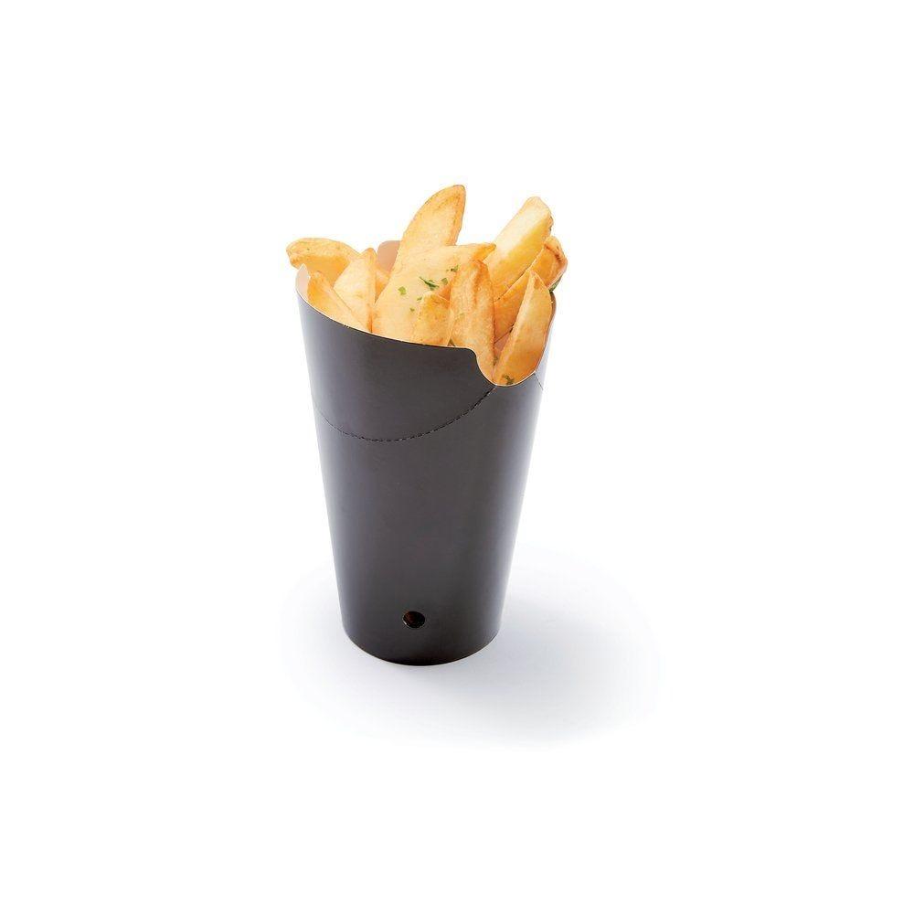 Barquette à frites en carton noire avec fermeture 480ml L14 x P9 x H8,5cm par 50 (photo)