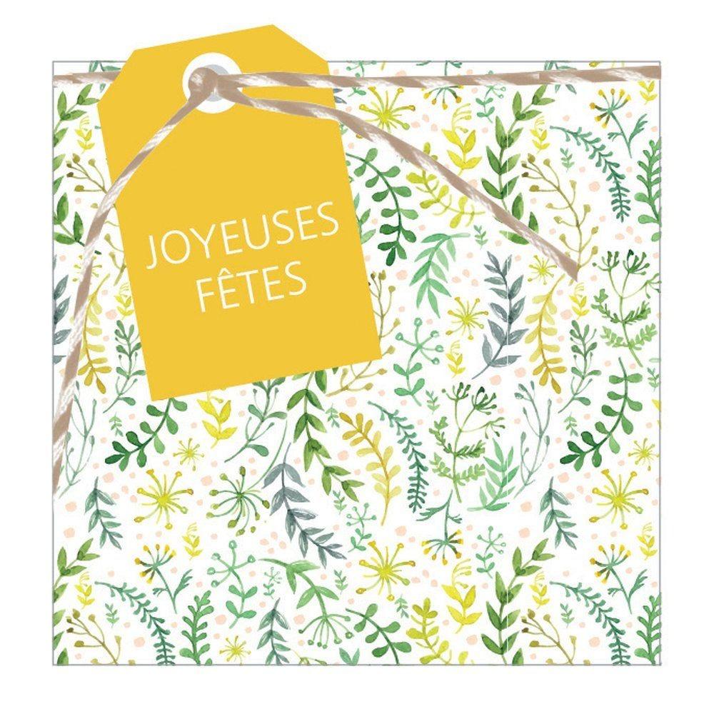 Carte cadeau et enveloppe Joyeuses fêtes 75x75mm par 12 (photo)