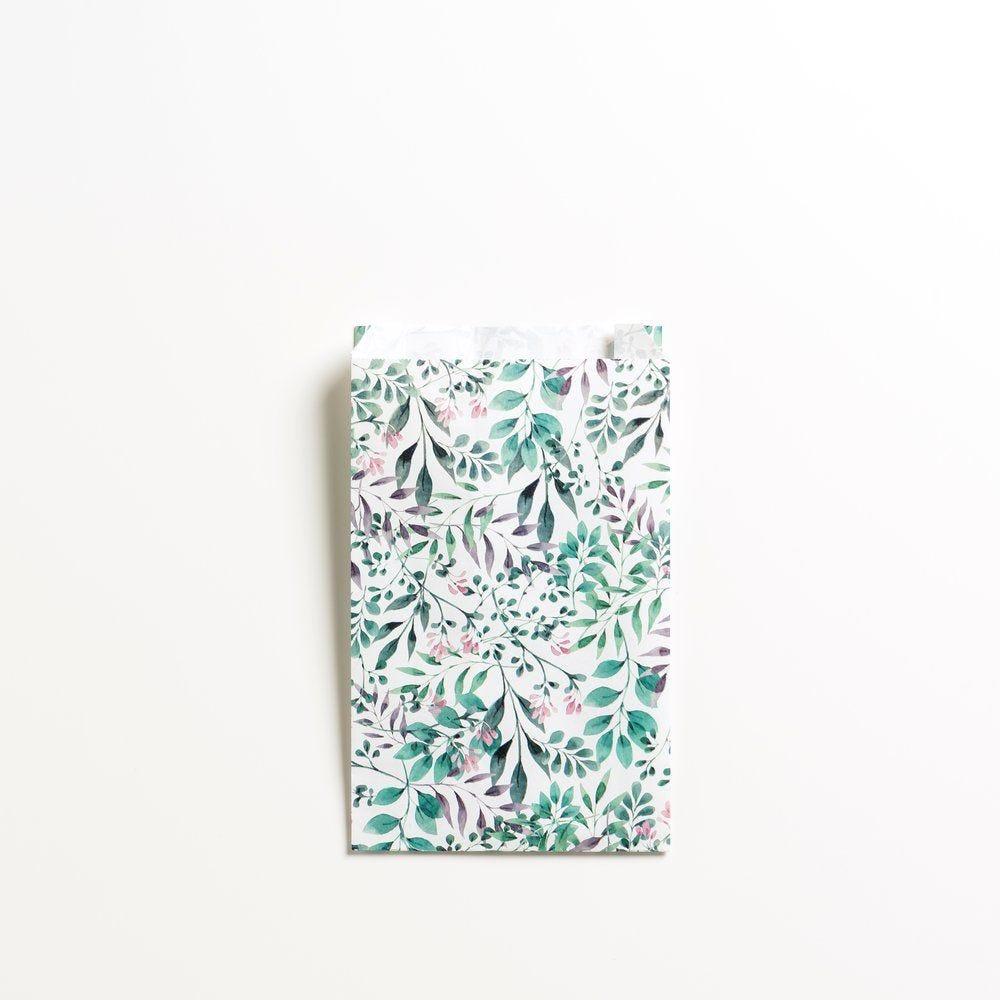 Pochette cadeau décor floral en 12 + 4,5x20cm - par 150