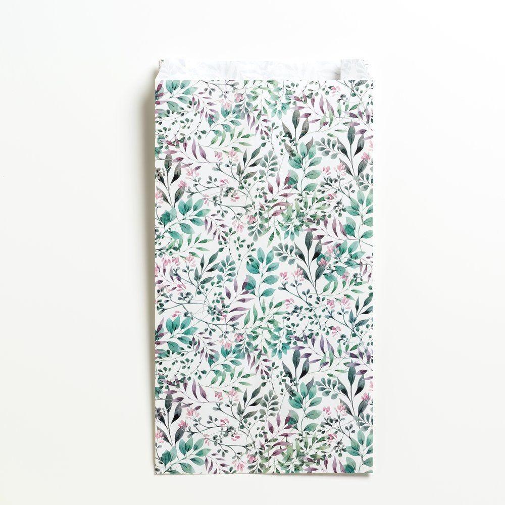 Pochette cadeau floral en 18 + 6x35cm - par 150