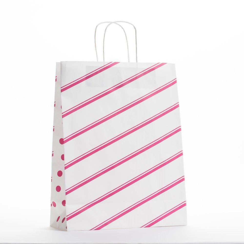 Sac papier poignées torsadées diagonales et pois L 32 x P 13 x H 41 cm par 50 (photo)